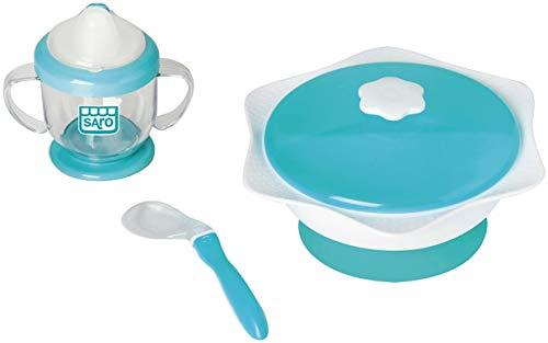 """SARO – Divertida vajilla """"Cover & Co"""" diseñada para transportar los alimentos de tu bebé. Tiene dos platos con tapa y ventosas para adherir a la mesa, cuchara y taza antigoteo"""