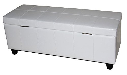 Mendler Aufbewahrungs-Truhe Sitzbank Kriens, Leder + Kunstleder, 112x45x45cm ~ weiß - 8