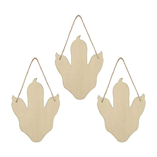 3 Pieces Dinosaur Paw Shaped Unfinished Wood Hanging Sign Blank Claw Wood Plaque with Ropes for Home DIY Projects Craft Decor, 7.9x5.9 Inches