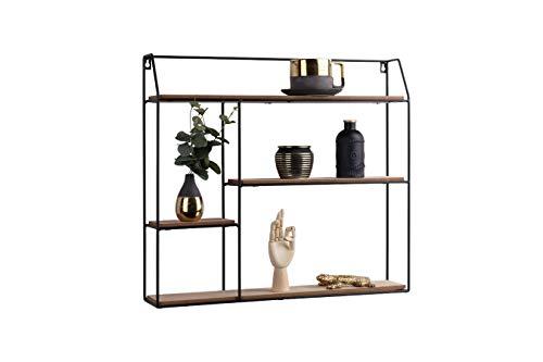 LIFA LIVING Eckiges Wandregal schwarz aus Holz und Metall mit 4 Böden, Vintage Schweberegal, Modernes Hängeregal im Industrie Design 58 x 11 x 52 cm.