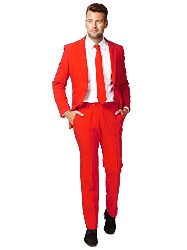 OppoSuits Solid Color Party for Men – Red Devil – Full Suit: Includes Pants, Jacket and Tie Costume pour Homme, 50