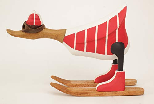 Brave Wings Hand Carved and Painted Wooden - Skiing Duck in French France Ski Jacket Type 2 - Wood Ornament Sculpture Figurine Statue Unique Table Decoration Home Decor Gift for Christmas - 2691
