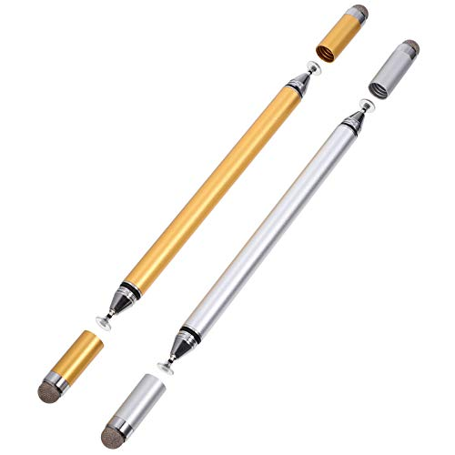 Hemobllo 2Pcs Active Stylus Pens for Touch Screens 4 in 1 High Precision Touch Screen Pens Smart Digital Pens Fine Point Stylist Pen Computers Accessories Golden Silver