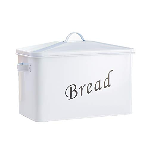 """Living-Home Metal Bread Box Extra Large High Capacity Bread Storage Bin For Your Kitchen Counter Holds 2+ Loaves for All Your Bread Storage Bread Container Counter Organizer 13.4""""x 7.5""""x 8.1""""White"""