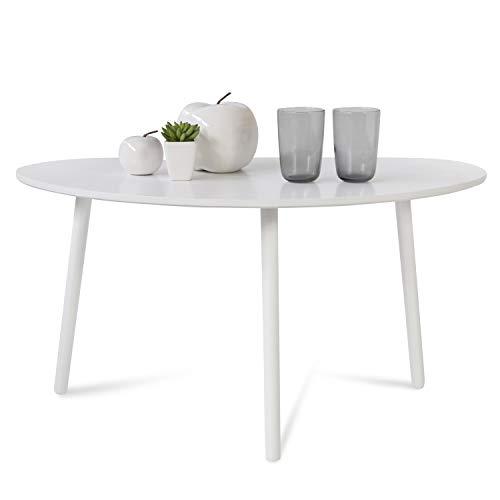 Homestyle4u 1882, Beistelltisch Weiß, Couchtisch Holztisch Nierentisch, Tisch Holz Kiefer
