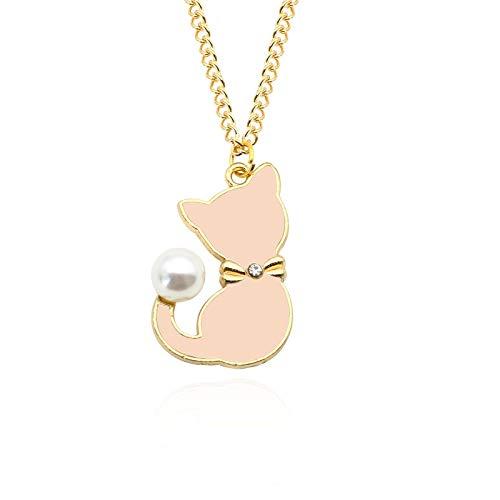 Lexiang Moda Esmalte Gato Perla Cola Gargantilla Collar para Mujeres Lindos Collares Animales Colgantes joyería (Metallfarbe : Pink)