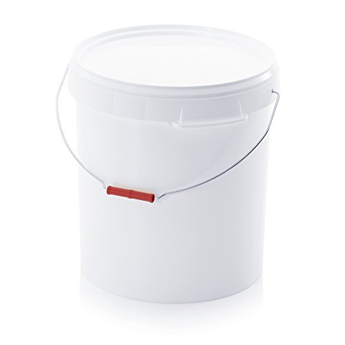 Eimer 30l mit Deckel und Metallbügel * lebensmittelecht * 30 Liter * weiß * Kunststoffeimer