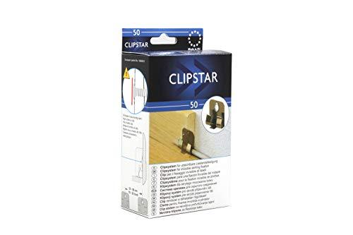KGM Sockelleisten Clips | ClipStar Befestigungs Clips Metall ✓Fester Halt ✓integrierter Kabelkanal | Befestigungsclips Set je 50 Metall Leisten-Clips, Dübel und Schrauben