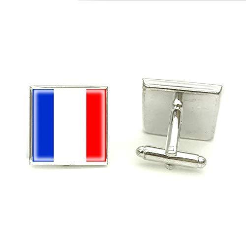 Gemelos cuadrados de la bandera de Francia, joyería artesanal de cristal plateado, gemelos de fotos para padrinos