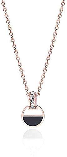FACAIBA Collar Anillo de Diamantes con Incrustaciones de Oro Rosa Collar Negro Collar de Cien Oro Regalo