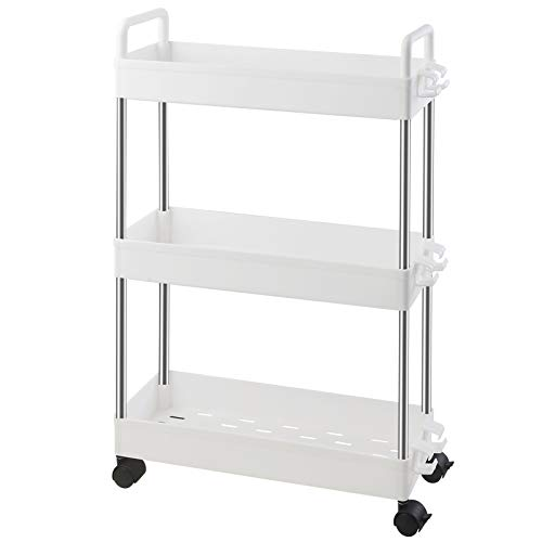 Ronlap 3 Tier Slim Storage Cart, Narrow Mobile Shelving Unit with Handle, Thin Rolling Utility Cart Slide Out Skinny Storage Organizer Tower for Kitchen Bathroom Laundry Room, White