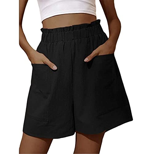 Hami House Womens Solid Color Elastic Waist Loose Short with Side Pocket