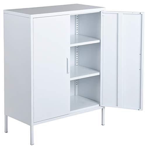 Metallschrank mit 3 Fachböden, Aktenschrank mit Doppeltüren, Büroschrank, Werkzeugschrank, für...