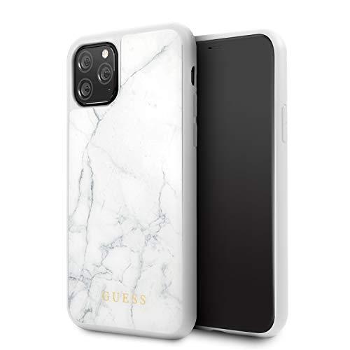 GUESS Marble Funda para iPhone 11 Pro Protector Blanco Resistente a Impactos Acabado Marmoleado