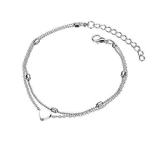 1 tobillera chapada en oro y plata de aleación para disfraz con colgante en forma de corazón, adecuado para mujeres y niñas