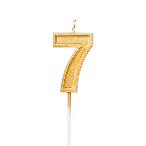 LUTER Gold Glitter Happy Birthday Cake Candles Number Candles Number 7 Birthday Candle Cake Topper Decoration for Party Kids Adults
