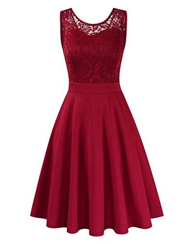 Clearlove Damen Kleider Elegant Spitzenkleid 3/4 Ärmel Cocktailkleid Rundhals Knielang Rockabilly Kleid(Verpackung MEHRWEG), Ärmellos Weinrot, S