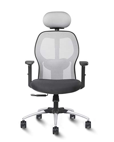 Exclusiff ® Oscar Office Chair High Back Nylon with Multi Lock, Adjustable Lumber, headrest and 2 Dimensional Adjustable arms (Black with Grey Mesh)