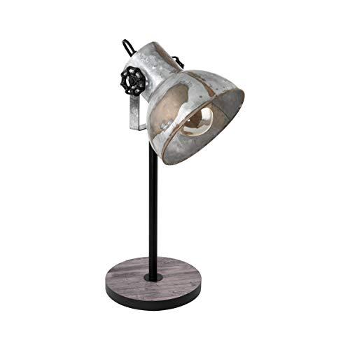 EGLO Tischlampe Barnstaple, 1 flammige Vintage Tischleuchte im Industrial Design, Retro Nachttischlampe aus Stahl im Zink Used-Look, Holz, Farbe: braun-Patina, schwarz, Fassung: E27, inkl. Schalter