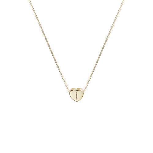 Tiny Gold Initial Heart Necklace-14K Gold Filled Handmade Dainty Personalized Letter Heart I Choker Necklace Gift For Women Kids Child Alphabet Necklace Jewelry (I)