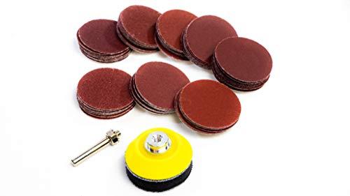 50mm Klett Schleifpapier Schleifscheibe Set Verschiedene Körnungen 80-600 Grit Mit Aufnahme Für Bohrmaschine