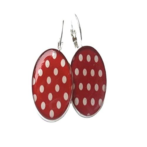 Pendientes de punto POLKA - Pendientes rojos - Pendientes rojos - Pendientes de niña - Pendientes retro - lunares - Pendientes blancos rojos