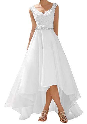 Kurz Hochzeitskleid Vintage A Linie Spitze Damen Rustikale Festkleider Brautkleid White EUR38