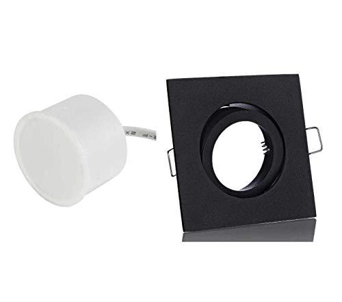 Lichtidee 8 x Flacher Flat Led Einbaustrahler eckig schwarz matt Spot Strahler 470 Lumen IP20 6Watt warmweiss 3000Kelvin 230Volt Einbautiefe nur 40mm