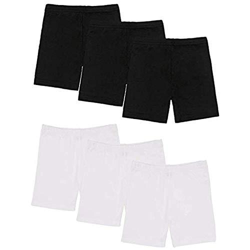 Xgood 6 Pack Girls Shorts Dance Cotton Bike Under Skirt Shorts(Black + White)