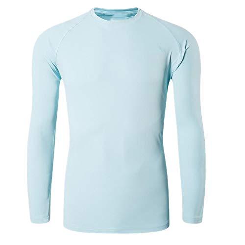 Camiseta de manga larga para la playa y verano con protección solar UV azul L