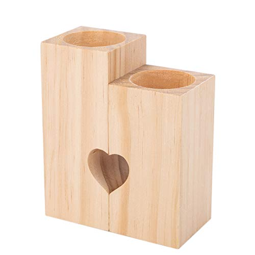 Woyada - Portacandele in legno, a forma di cuore, decorazione da tavolo, ideale come regalo per matrimoni, feste, compleanni e vacanze