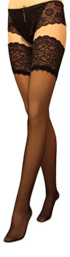 13cm Deep Lace Top Sheer Hold-ups-stockings 15 Denier Hold-Ups (3 4 - M L, Black)