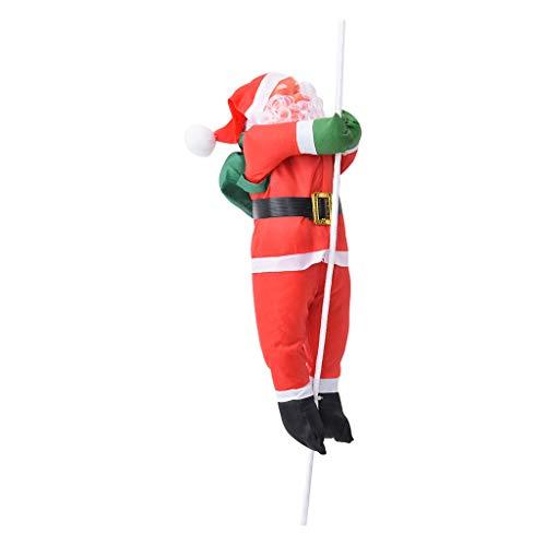 About1988 Weihnachten 40cm Santa Kletterseil Leiter, Weihnachtsmann auf Leuchtleiter, verstellbar, für innen und außen, Weihnachts Deko Weihnachten Figur Nikolaus (A)