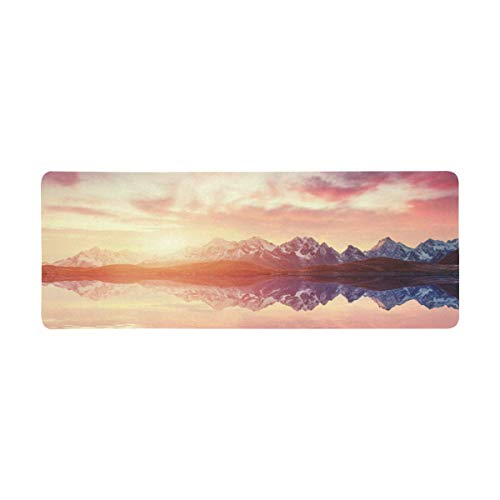 InterestPrint Soft Extra Extended Large Gaming Mouse Pad with Stitched Edges, Desk Pad Keyboard Mat, Non-Slip Base for Office & Home, 31.5 x 12In - Fantastic Starry Sky Over The Sea and Mountain