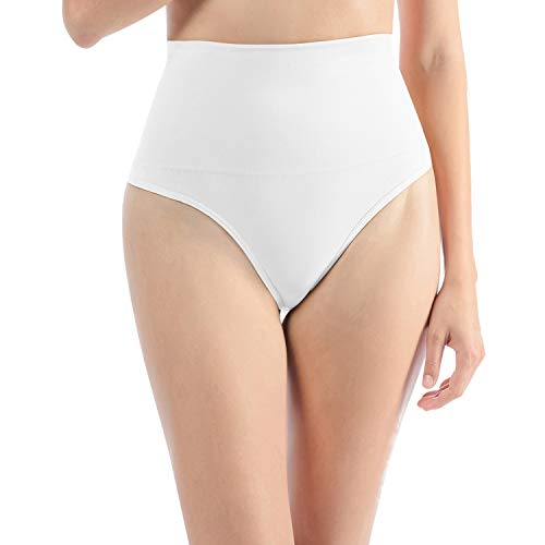 Libella Tanga Faja Braga Reductora para Mujer String Body Faja Modeladora Reductora sin Costuras Vientre Plano Braguitas Modeladora 3612 Blanco S/M