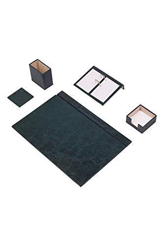Calme-D - Juego de 5 protectores de escritorio (49 x 34 cm, piel sintética, en 10 colores a elegir), color verde