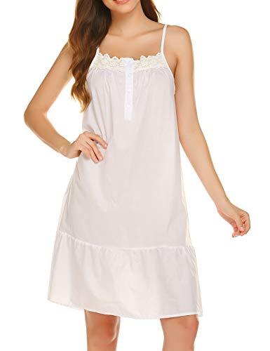 Ekouaer Womens Nightgown Sleeveless Sleepwear Cotton Pajamas Dress Lace Night Gown Lace Sleep Gown White Sleep Dress