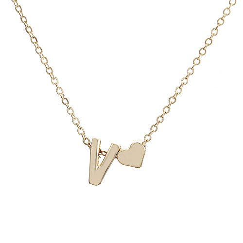 Jyuter12 Halskette anhänger kleine und Exquisite herzförmige anfängliche Halskette persönlichkeit Brief Halskette Name Damen zubehör Freundin Geschenk schmuck 724v