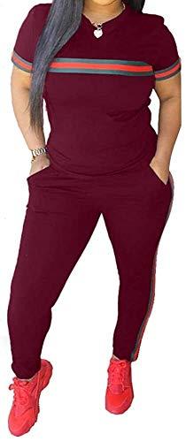 Sport Leggins,Yogahose Chic naar Max Womens trainingspak Set 2 stuks Plus Size Sports Outfits Top met lange mouwen en Bodycon broek joggingpak for Vrouwen Ladies (Color : B*Red, Size : XL)