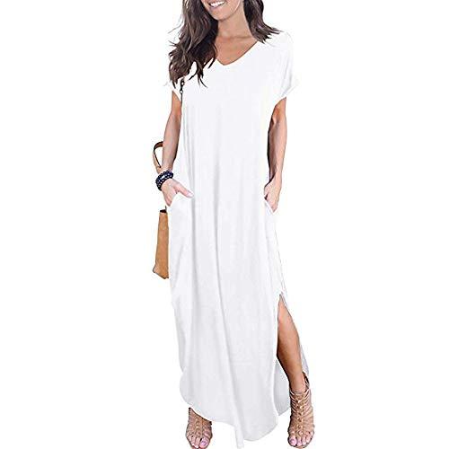 Newbestyle letnia sukienka damska, długa sukienka maxi, sukienka plażowa w stylu boho, z krótkim rękawem i kieszeniami, biały, XXL