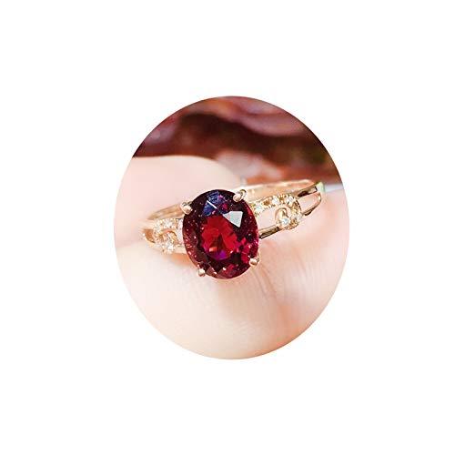 Bishilin Anello 750 Oro Rosa per Donne Ovale Rosso Tourmaline Anello di Fidanzamento Nozze Oro Rosa con Diamante