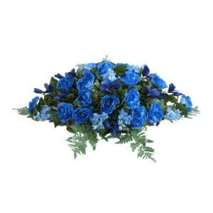 Deluxe Silk Flower Saddle in Blue for Grave-site Presentation in Remembrance of Loved Ones.