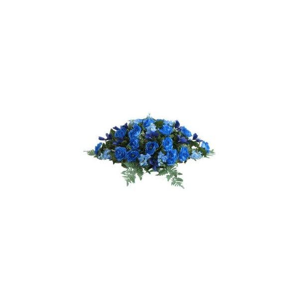 Memory Lane Memorials Deluxe Silk Flower Saddle in Blue for Grave-site Presentation in Remembrance of Loved Ones.