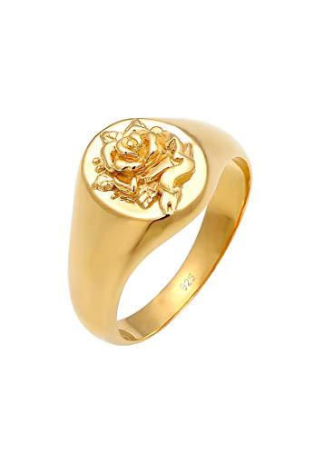 Elli Ring Damen Siegelring Rose 80s Look in 925 Sterling Silber