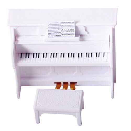 TOYANDONA Mini Piano Modell Miniatur Piano Spielzeug Puppenhaus Musikinstrument mit Hocker für Puppenhaus DIY Szene Dekoration (Weiß)