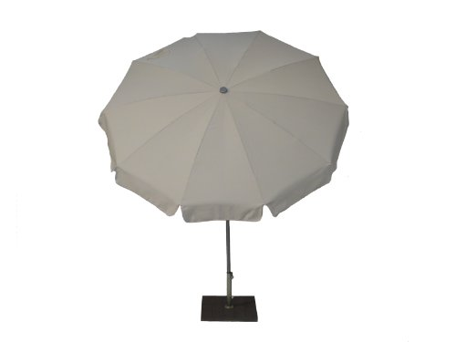 Maffei Art 92 INOX, Parasol Rond diamètre cm 200, Tissu Dralon, Monture Acier INOX, Made in Italy. Couleur Ecru
