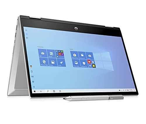 """HP - PC Pavilion x360 14-dw1001sl Convertibile, Intel Core i3-1115G4, RAM 8 GB, SSD 256 GB, Grafica Intel UHD, Windows 10 Home, Schermo Touch 14"""", Lettore Impronte Digitali, Penna Inclusa, Argento"""