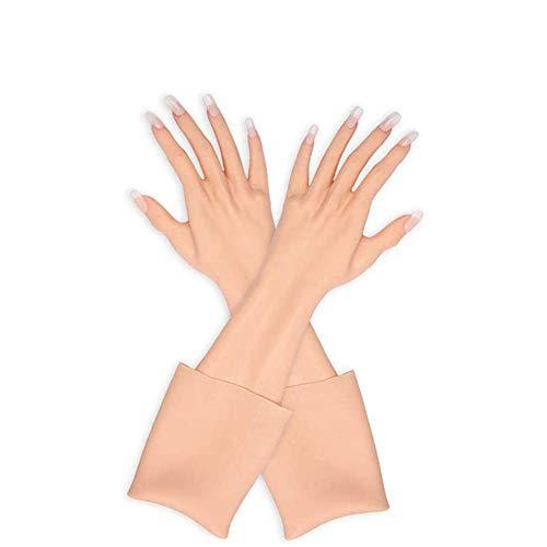 U-CHARMMORE Künstliche Haut Weibliche Hand Schaufensterpuppe Silikonhandschuhe 1 Paar für Cosplay Crossdress (finger with nails, 2)