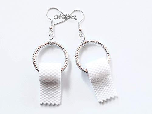 Toilettenpapier ohrringe silberne Handgemachte, ursprüngliches und lustiges Geschenk mit Perlen