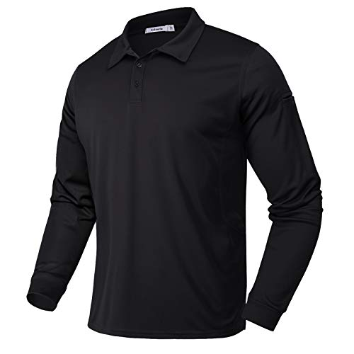 Sykooria Poloshirt Herren Langarm Sweatshirt Slim Fit Sport Shirt, Polo T-Shirt mit Brillenhalter Stifttaschen, Leicht Atmungsaktiv schnelltrocknend Golf Polohemd für Outdoor-Sport Lauf Jogging